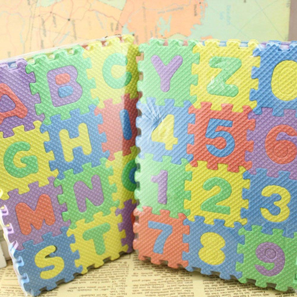 Everpert Juego de 36 alfombrillas de espuma EVA para beb/és y ni/ños con n/úmeros y alfabeto