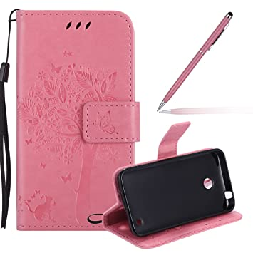 low cost 8a6cc cd5d9 Nokia Lumia 635 Case,Microsoft Lumia 635 Wallet Case Leather,Felfy Elegant  Butterfly and Cat Solid Colour Patterned Embossing Premium Flip PU Leather  ...