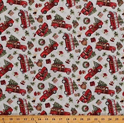 Cotton Christmas Trees Red Trucks Vans Campers Trailers Presents Dogs Red  Truck Toss Cotton Fabric Print by The Yard (66692,A620715)