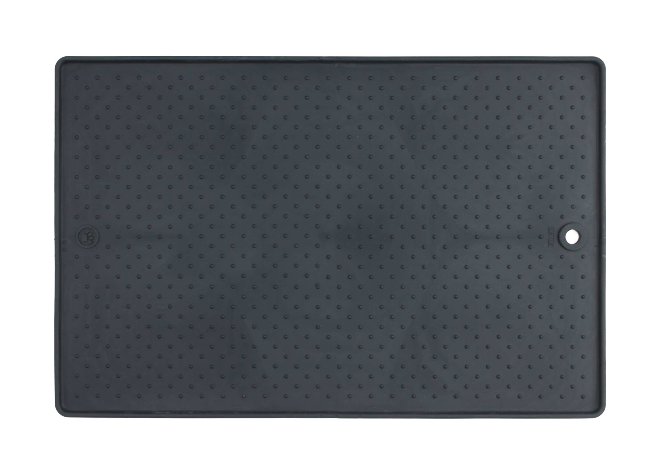 Dexas Grippmat for Pet Bowls, 13 by 19 inches, Gray