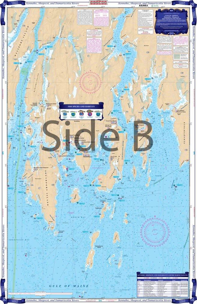 Coastal Fishing Waterproof Charts 102F Kennebec Sheepscot /& Damariscotta Rivers