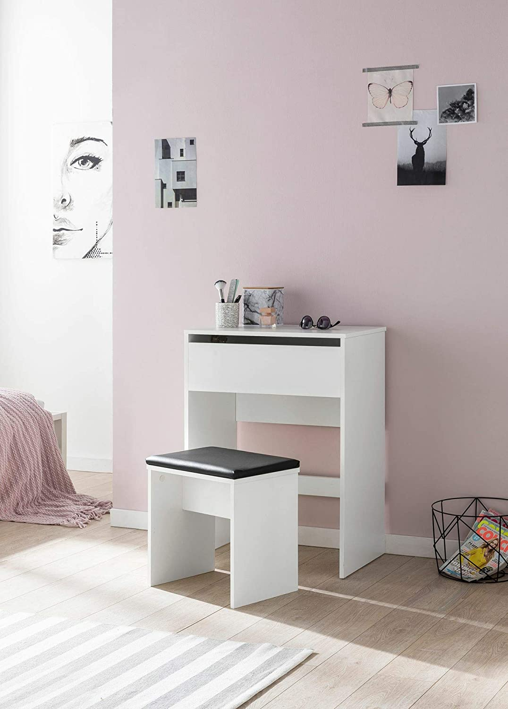 60 x 81 x 40 cm con Sgabello e Specchio Tavolo da toeletta Stile Moderno in Legno Colore: Bianco KS-Furniture WL5.730
