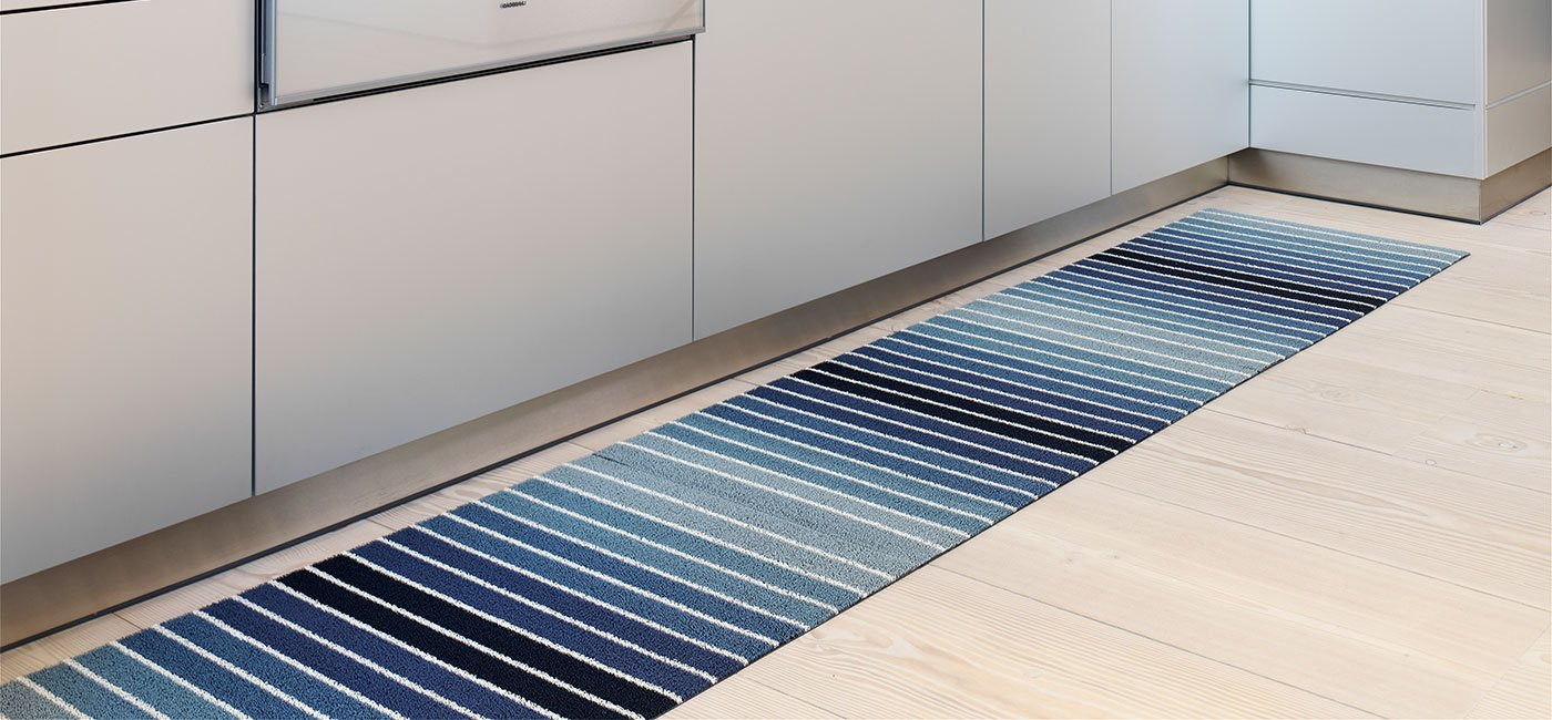 Chilewich Shag Indoor/Outdoor Big Mat Block Stripe Denim 36'' x 60'' by Chilewich