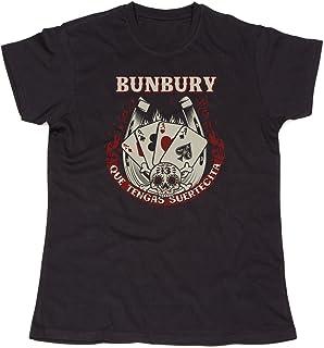 onstage - Camiseta Unisex Bunbury Que TENGAS SUERTECITA Negra Hombre