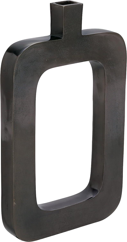 """Deco 79 38029 Black Aluminum Nickel Vase, 18"""" x 11"""""""