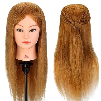 Neverland Cabeza Maniquí 45cm 100% Pelo Natural Peluqueria practicas Formación Muñeca de la Cosmetología (
