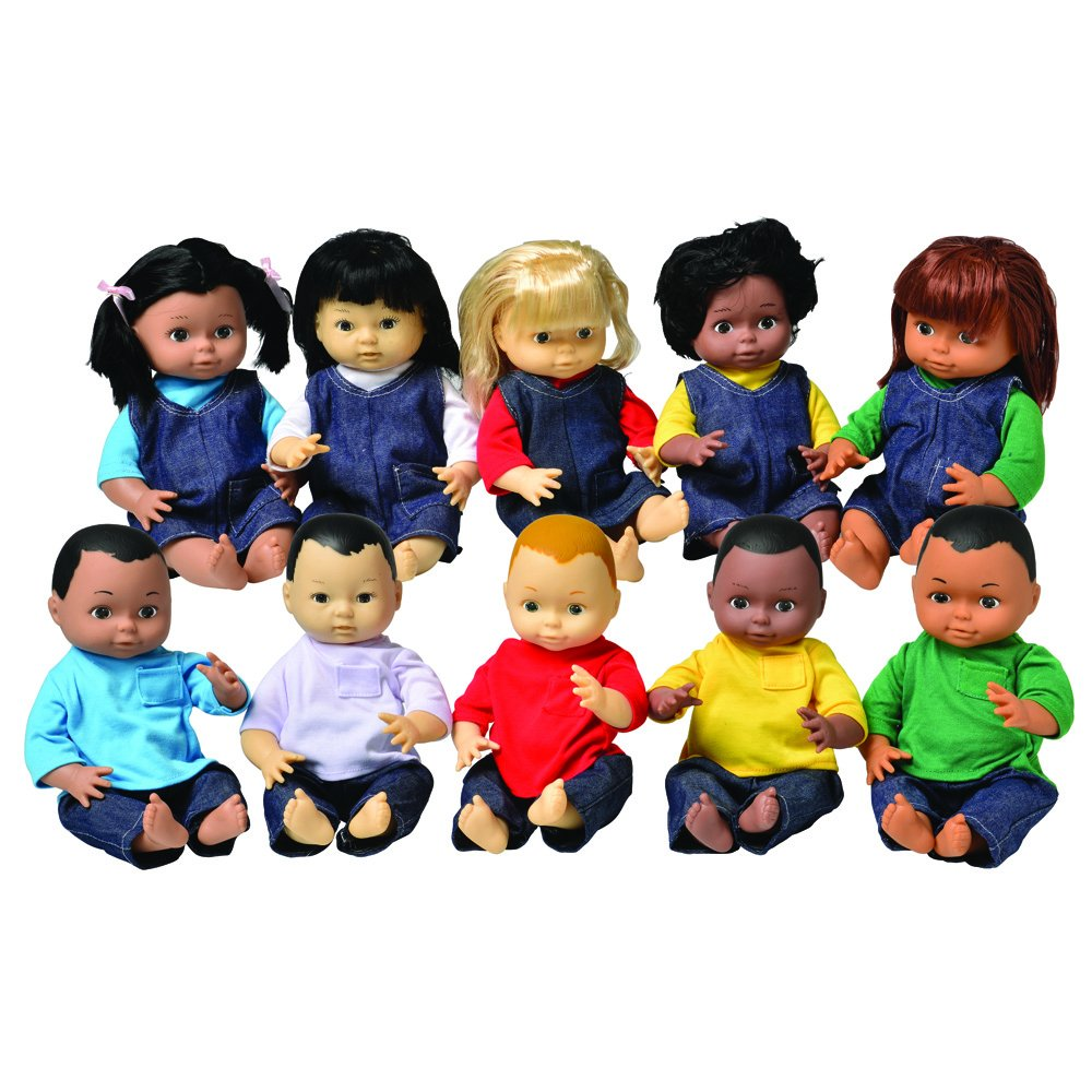 Constructive Playthings CPX-942 Set of Ten 13'' Ethnic Dolls with Accurate Skin Tones and Moveable Head, Legs and Arms