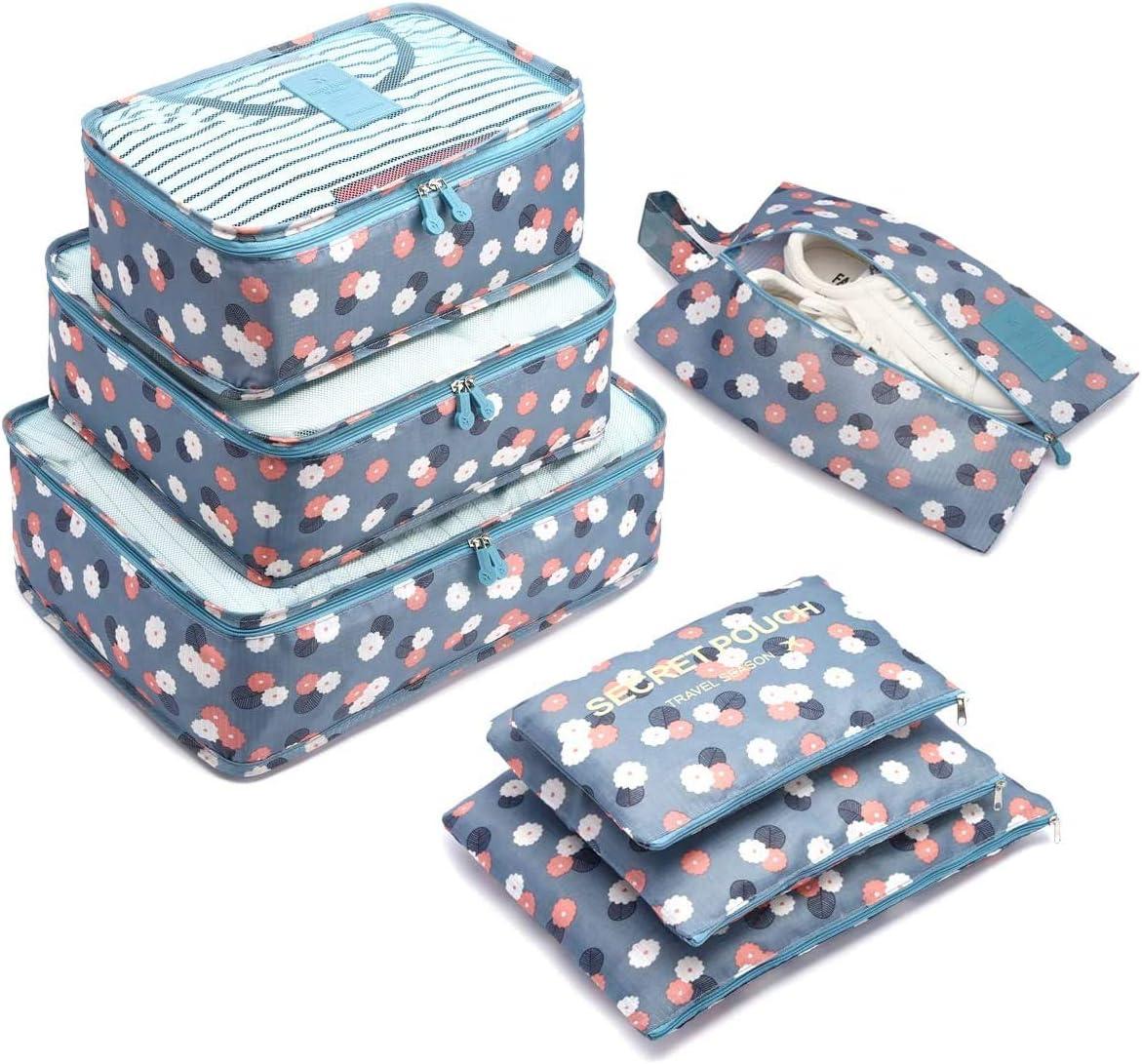 7 Set de Organizador de Equipaje, Impermeable Organizador de Maleta Bolsa para Ropa Sucia de Viaje, Material Nylon(2Blue Flower)