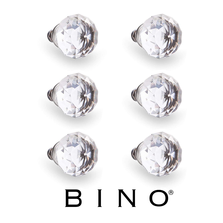 "BINO 6-Pack Crystal Drawer Knobs - 1.25"" Diameter (32mm), Chrome - Dresser Knobs for Dresser Drawers Crystal Knobs and Pulls Handles"