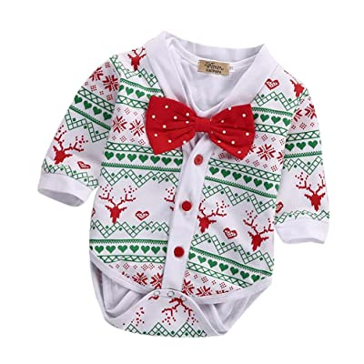 f80cfbc195d 2PCS Baby Girls Boys Christmas Clothes Set Deer Bow Tie Bodysuit Rompers  Outfits