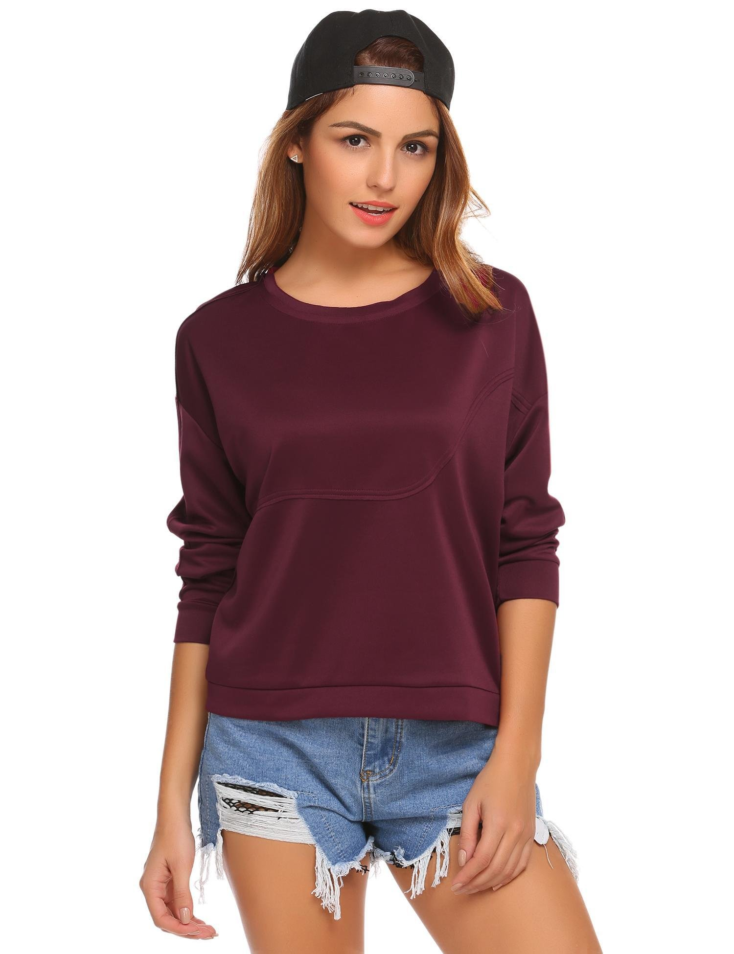 Zeagoo Casual Loose Fit Wine Red Long Sleeve Short Sweatshirt Blouse for Teen Girls,1wine Red,Large