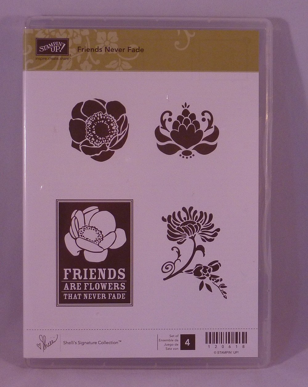 Stampin' Up! FRIENDS NEVER FADE Set of 4 Decorative Rubber Stamps Retired