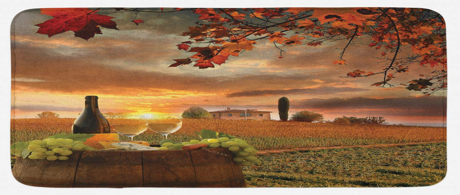"""Lunarable Winery Kitchen Mat, White Wine with Cask on Vineyard at Sunset in Chianti Tuscany Italy, Plush Decorative Kithcen Mat with Non Slip Backing, 47"""" X 19"""", Apple Green"""