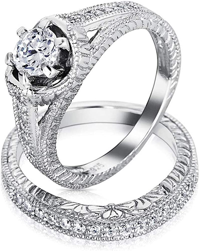1.5 Ct Solitaire CZ Paved Band Ring Wedding Engagement Women Fashion Jewelry