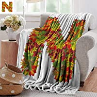 PearlRolan Velvet Touch Ultra Plush,Letter N,Fall Canadian Maple Leaves Shaped Symbolic Writing Sign Flourishing Mother Earth,Multicolor,300GSM,Super Soft and Warm,Durable Throw Blanket