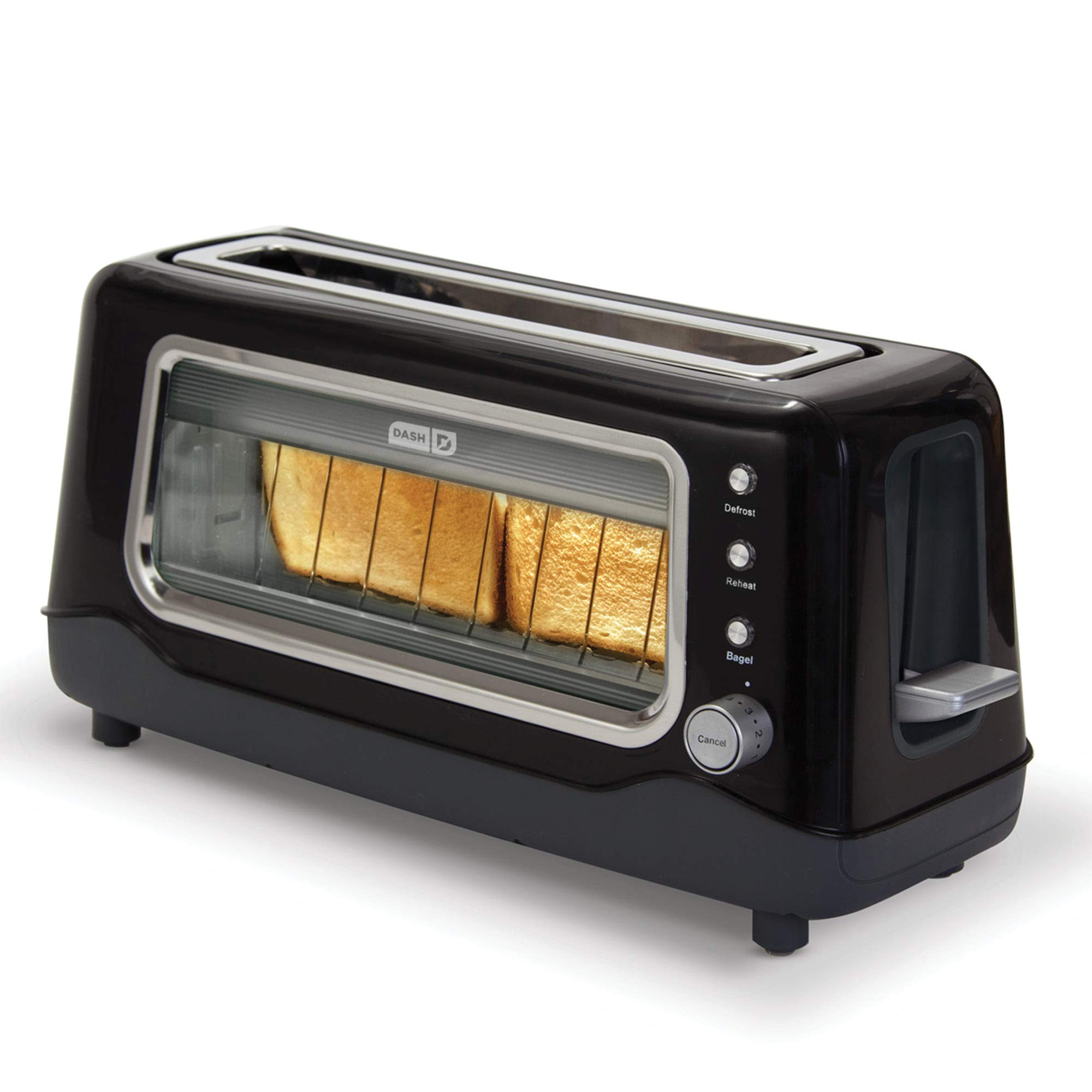 Dash Clear View Toaster: Extra Wide Slot Toaster with Stainless Steel Accents + See Through Window - Defrost, Reheat + Auto Shut Off Feature for Bagels, Specialty Breads & other Baked Goods - Black