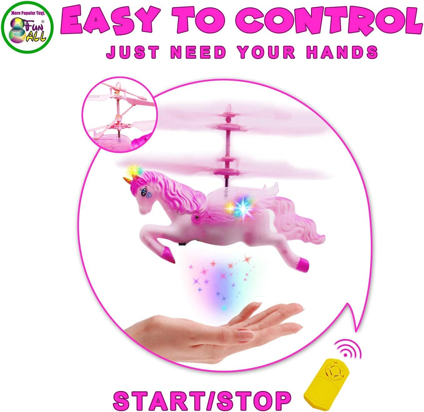 Dreamtoys Unicornio volador Pegasus con luz LED extrabrillante gran regalo de cumplea/ños juguete para ni/ñas peque/ñas y grandes amarillo f/ácil de controlar con la mano