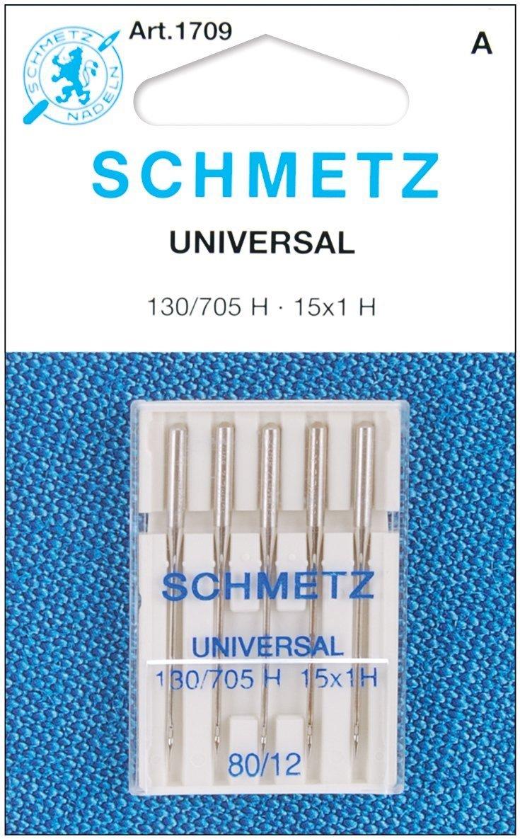 25 Schmetz Universal Sewing Machine Needles 130//705H 15x1H Size 80//12