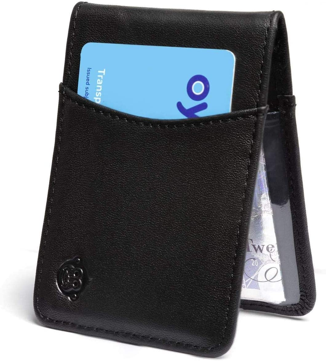 Hand Made Soft REAL LEATHER Bus Pass Oyster ID Credit Card Travel Wallet Thin UK