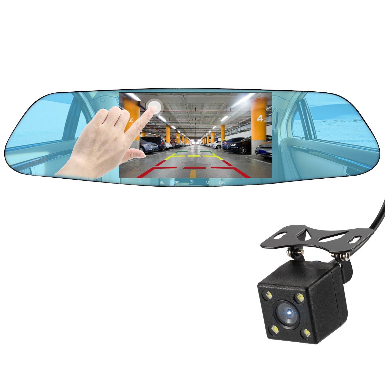 Dash Cam Backup Camera NEXGADGET Mirror Dash Cam 1080P Dual Lens Video Recorder, 4.5 Inch HD Touch Screen G-Sensor Loop Recording Reversing Function, 150°Weatherproof Rear Camera