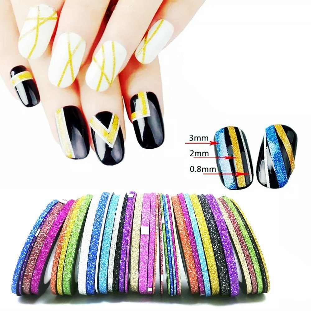 BloomingBoom 39 Multicolor 13 Colors Mixed Nail Laser Line Matte Nail Tape Strips Stickers 1 mm 2 mm 3 mm Nail Art Wrapping Decoration DIY Nail Tip Adhesive Tape Design by BloomingBoom