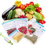 CISNO Sous Vide Bags Kit 5 Food Vacuum Sealed Bags and 1 Hand Pump for Food Storage and Cooking