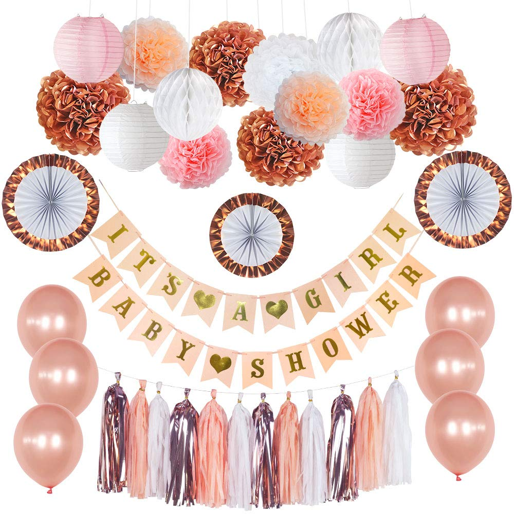 Details About Rose Gold Baby Shower Decorations Its A Girl Banner Balloons Pink White Blush