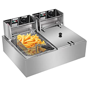 ZOKOP Electric Deep Fryer Stainless Steel with Baskets Strainers Filters, 12.7QT/12L Capacity, for Commercial & Home Use, Countertop Kitchen Fryer for Turkey, French Fries, Donuts, 5KW 60Hz 110V