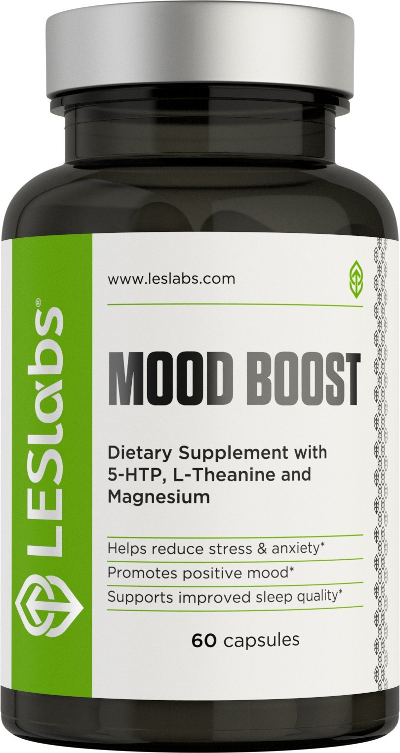 LES Labs Mood Boost, Natural Supplement for Stress and Anxiety Relief, Positive Mood & Improved Sleep, 60 Capsules
