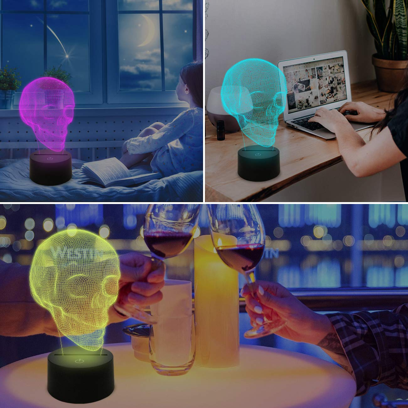 SUPERNIUDB Middle Finger Gesture Funny Home Decor Night Lamp 3D Switch LED Desk Light