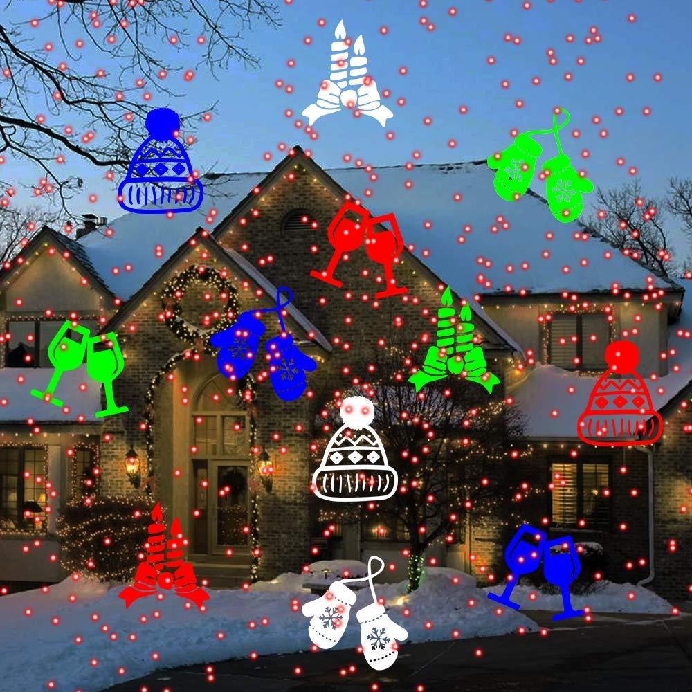 Green Laser Snowflake Led Spotlight Landscape Projector Newest Version Multi 10 Slides Sparkling Laser Light Show Indoor Outdoor Rotating Projection Lights Christmas Laser Light,