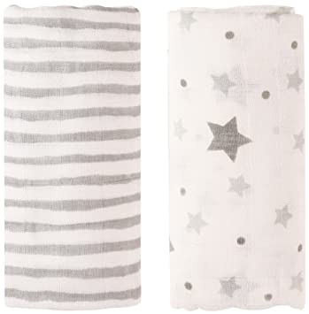 Amazon Com Bamboo Muslin Baby Swaddle Blankets 47x47 2 Pack Grey