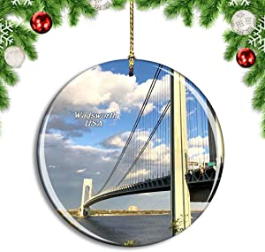 Weekino USA America Staten Island Fort Wadsworth Christmas Xmas Tree Ornament Decoration Hanging Pendant Decor City Travel Souvenir Collection Double Sided Porcelain 2.85 Inch