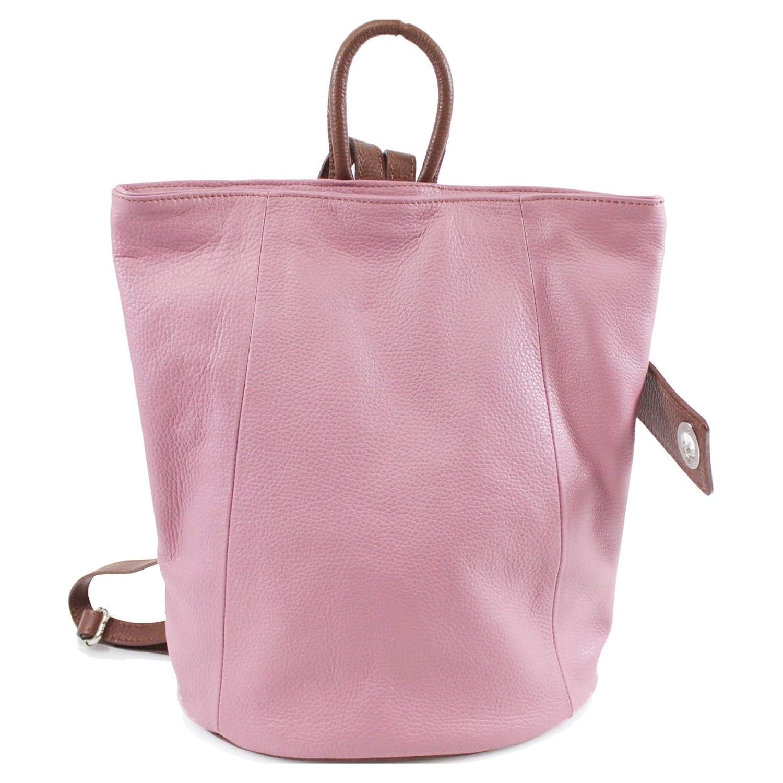 Nya kvinnor damer flickor VERA PELLE DESIGNER ryggsäck äkta mjuk italiensk läder ryggsäck väska Pink/Tan