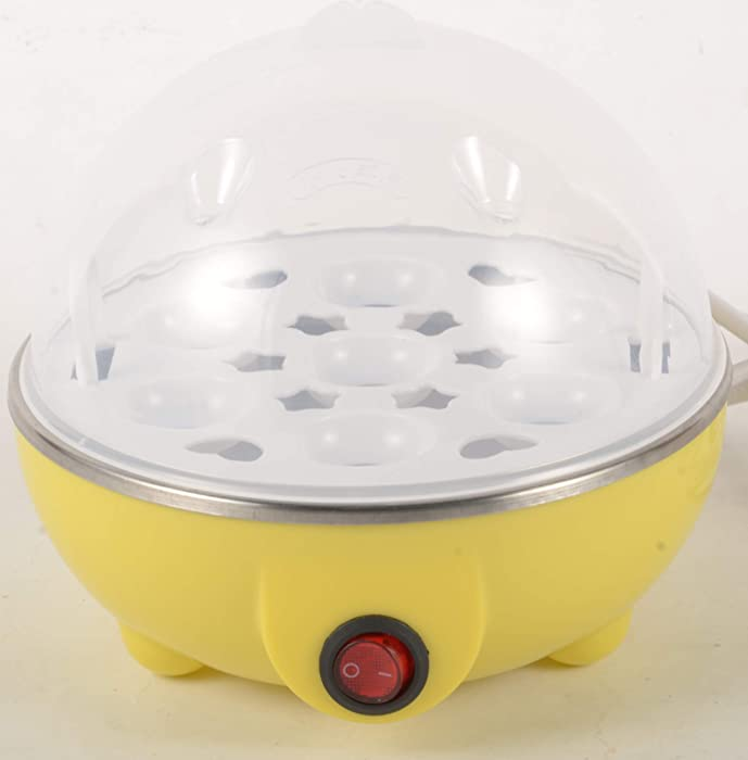 Rapid Egg Cooker: 6 Egg Capacity Electric Egg Cooker for Hard Boiled Eggs, Poached Eggs, Scrambled Eggs, or Omelets with Auto Shut Off Feature (Yellow)