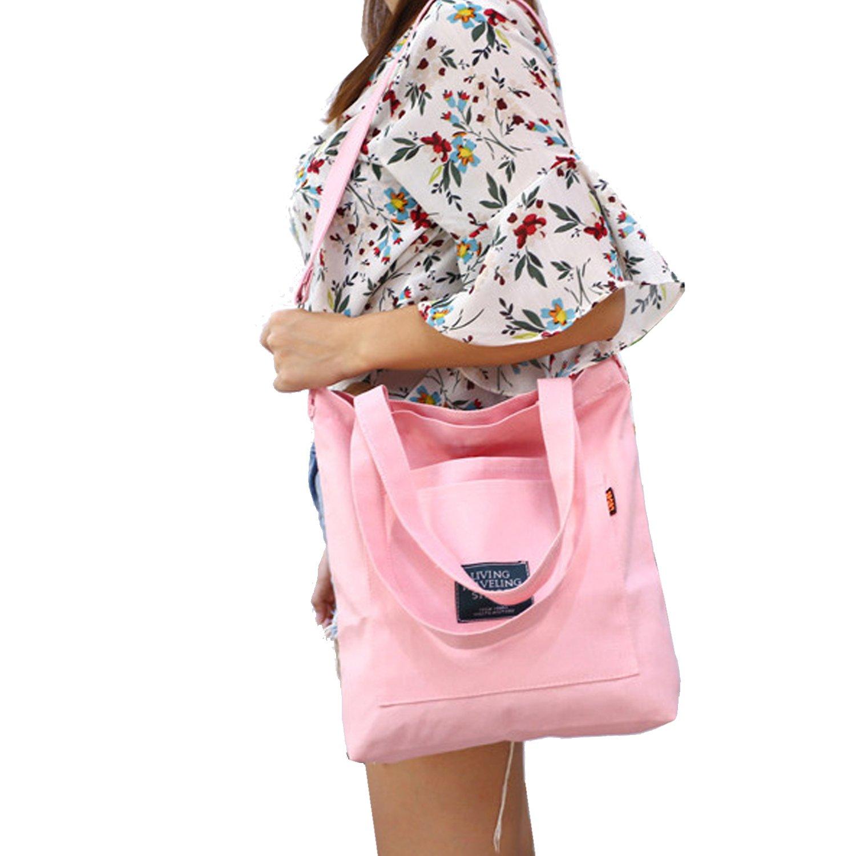 Youndcc Cotton Canvas Tote Bag Canvas Shoulder Bag Cross-body Bag Tote Handbag Canvas Beach Tote Bag Shopping Bag (Pink)