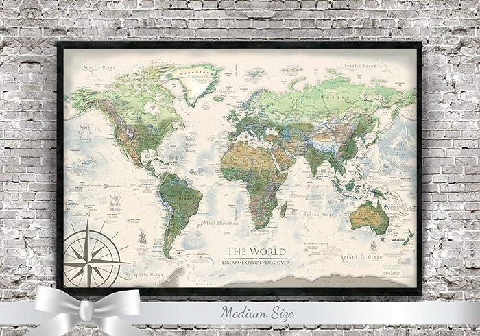 Amazon Com Canvas Pin Board World Map The Nautilus World Map