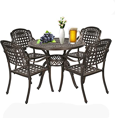 IPKIG Cast Aluminum Patio Dining Set 5 Piece