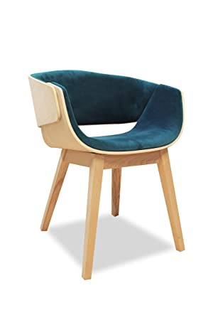 Meubletmoi Fauteuil Design Bleu Canard En Bois Et Tissu