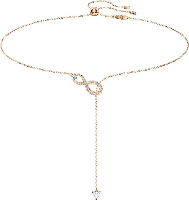 Swarovski Collier en Y Swarovski Infinity, blanc, métal doré rose