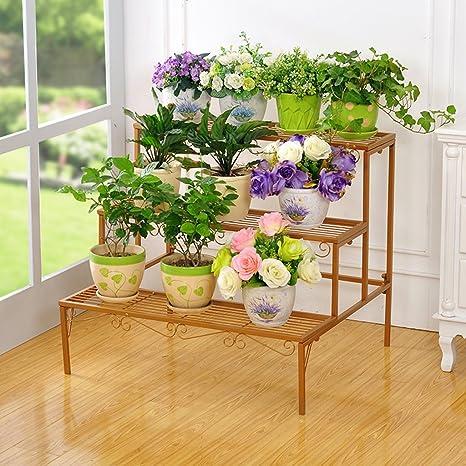 AIDELAI Estantería de hierro para suelos con diseño de flores ...