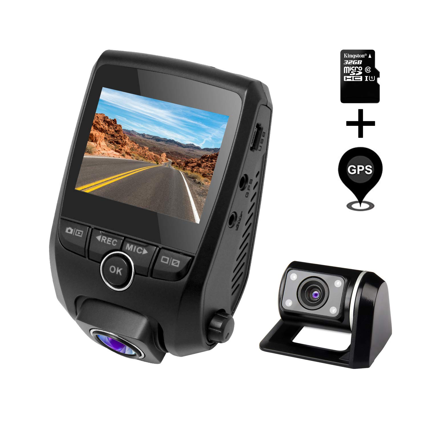 ZXS Dual Dash Cam, 1080P HD Front and Rear Camera, 6-Lane 170°Wide-Angle Lens, with GPS Module, Night Vision, G-Sensor, Dual-Port Super Capacitor WDR, Loop Recording with 32GB SD Card