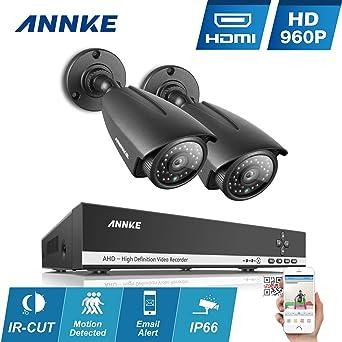 ANNKE Kit de 2 Cámaras de Vigilancia Seguridad (H.264 4CH AHD NVR P2P
