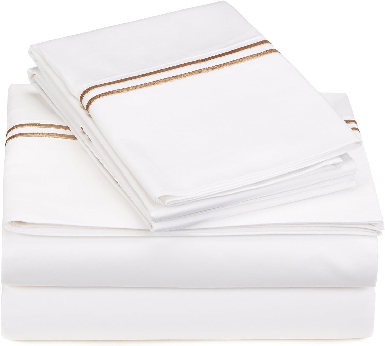 Pinzon 400-Thread-Count Egyptian Cotton Sateen Hotel Stitch Sheet Set - Full, Taupe