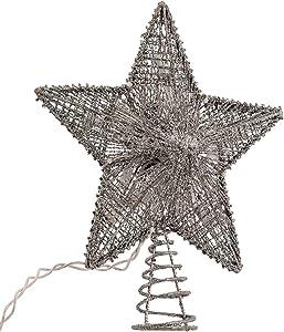 Kurt Adler 10-Inch Silver Star Treetop with 10 Mini UL Lights
