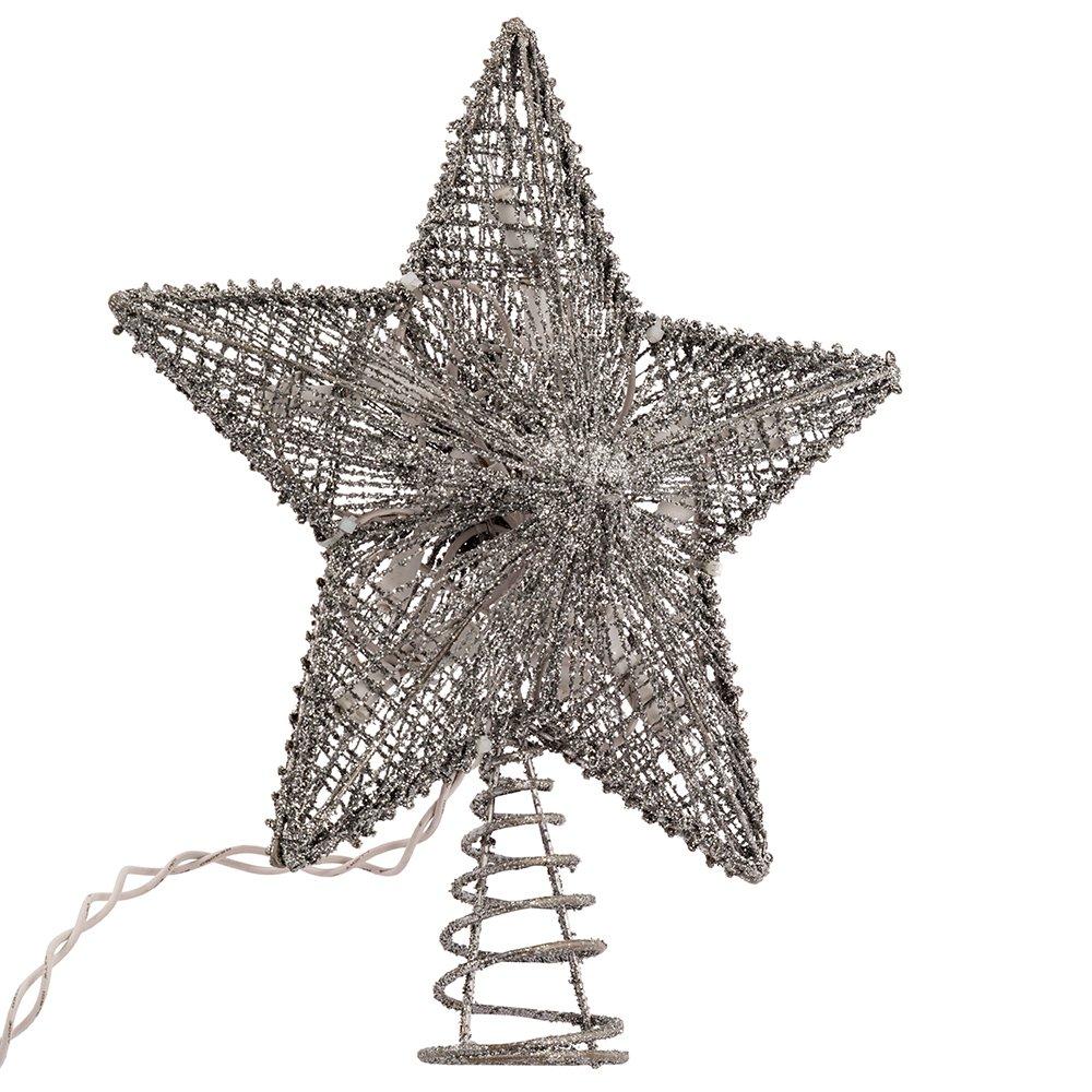 Kurt Adler 10-Inch Silver Star Treetop with 10 Mini UL Lights Kurt S. Adler Inc. UL0895