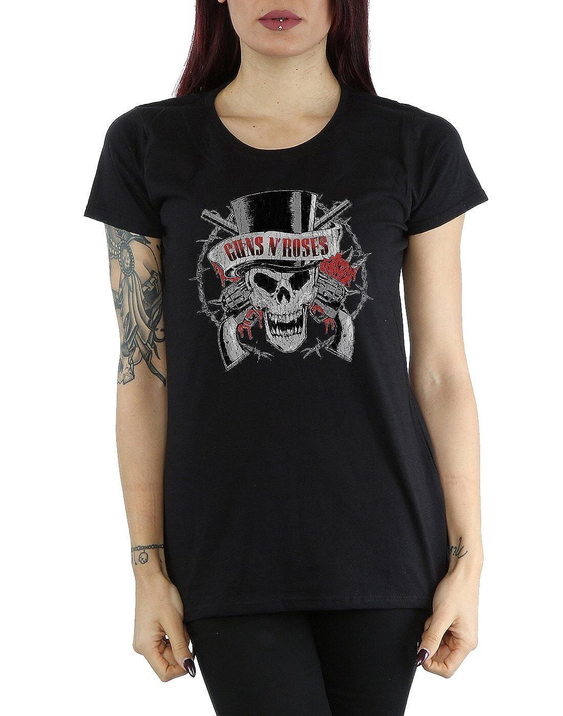 Roses Distressed N Guns Femme Cult Deaths Head T Shirt Absolute A5P5qwxtnd