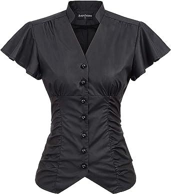 DARKNESS - Camiseta de manga corta para mujer Steampunk, gótica victoriana, vintage, cuello en V, ajustado con botones Negro L: Amazon.es: Ropa y accesorios