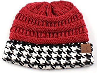 00ffdcfe994 Hatsandscarf C.C Exclusives Cable Knit Soft Stretch Houndstooth Ribbed Beanie  Hat (HAT-12)