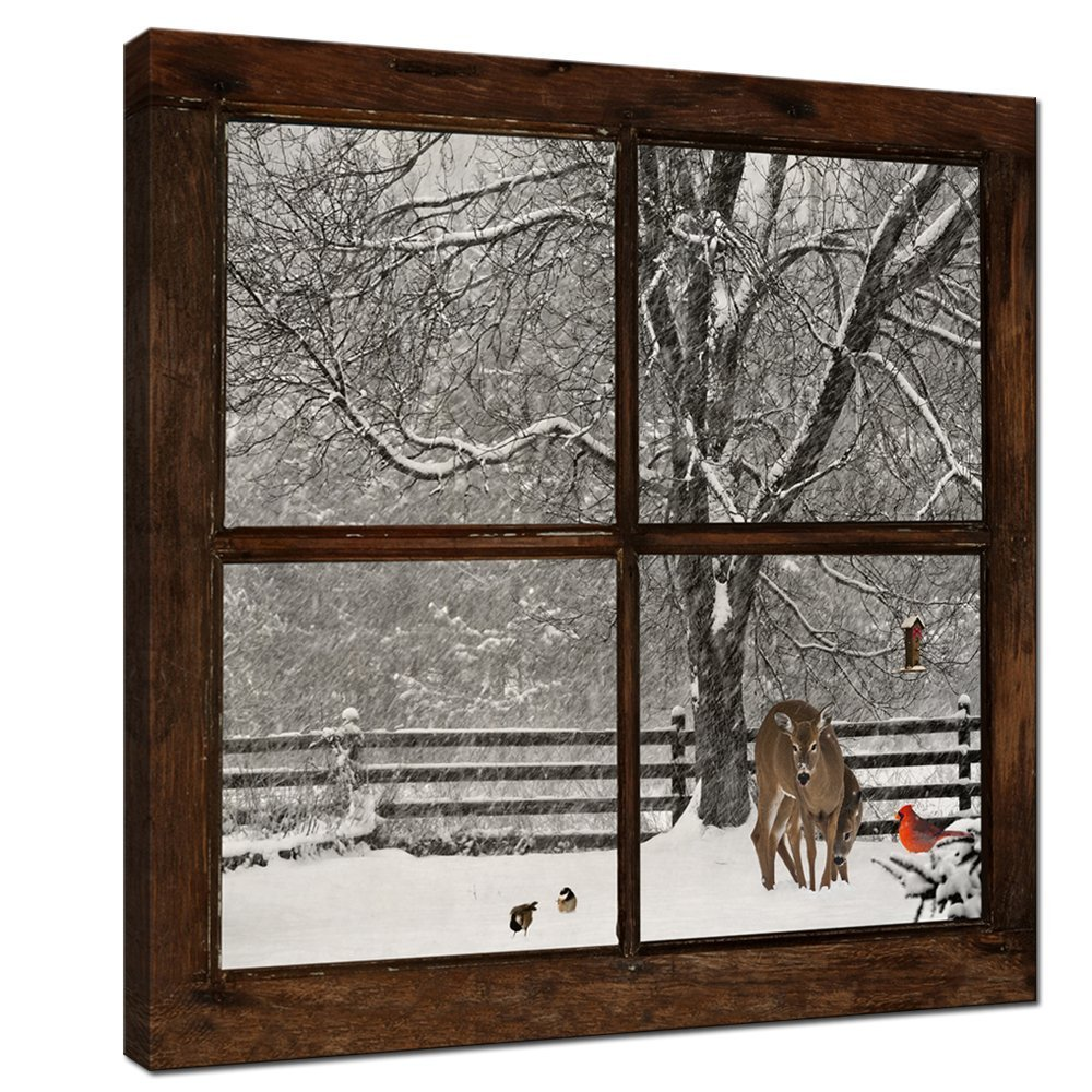 Sea Charm Canvas Prints Wall Art,Glimpse into Deer and Cardinal in Snowstorm out of Grunge Window,Winter Landscape Painting Modern Wall Decor,Framed Artwork Ready to Hang - 24''x24''